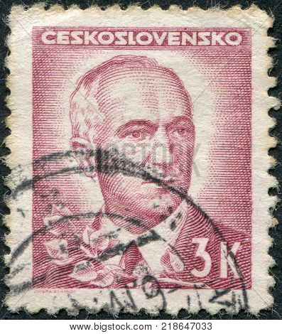 CZECHOSLOVAKIA - CIRCA 1945: A stamp printed in the Czechoslovakia, shown Edvard Benes, circa 1945