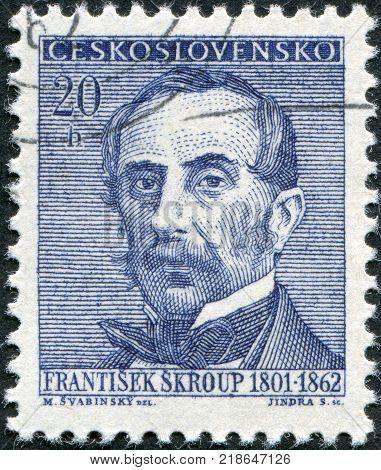 CZECHOSLOVAKIA - CIRCA 1962: A stamp printed in the Czechoslovakia shown Frantisek Jan Skroup circa 1962