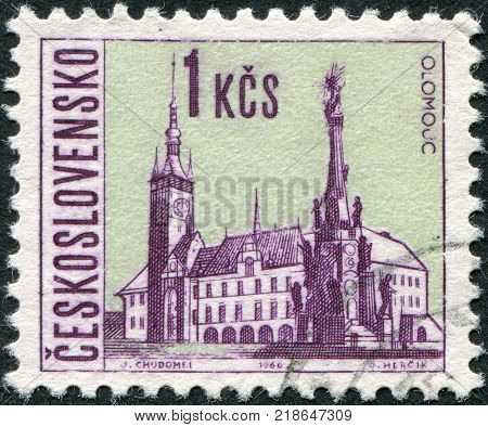CZECHOSLOVAKIA - CIRCA 1966: A stamp printed in the Czechoslovakia shows the city of Olomouc circa 1966