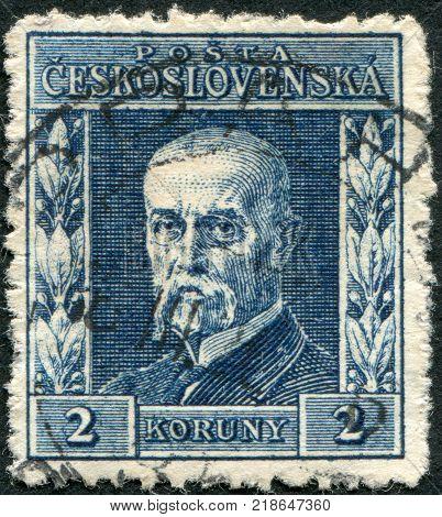 CZECHOSLOVAKIA - CIRCA 1925: A stamp printed in the Czechoslovakia, shows the first president of Czechoslovakia, Thomas Masaryk, circa 1925