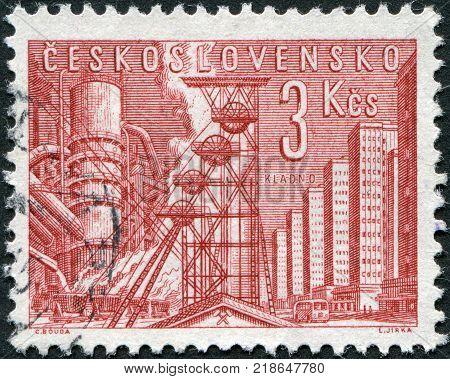 CZECHOSLOVAKIA - CIRCA 1961: A stamp printed in the Czechoslovakia shows the Blast Furnace and Mine Kladno circa 1961