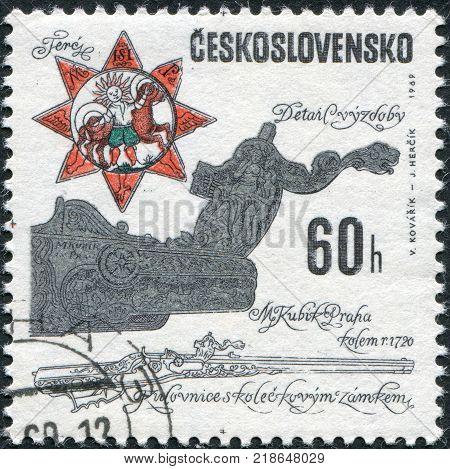 CZECHOSLOVAKIA - CIRCA 1969: A stamp printed in the Czechoslovakia shown Wheellock rifle from Matej Kubik workshop c. 1720 circa 1969