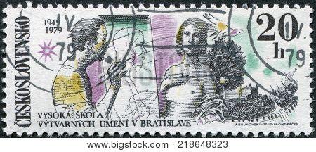 CZECHOSLOVAKIA - CIRCA 1979: A stamp printed in the Czechoslovakia dedicated to 30th anniversary of the Fine Arts Academy Bratislava shows the Artist and Model Dove Bratislava Castle circa 1979