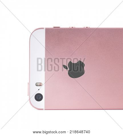 KIEV, UKRAINE - OCTOBER 09, 2017: Back view of Rose Gold iPhone SE, isolated on white