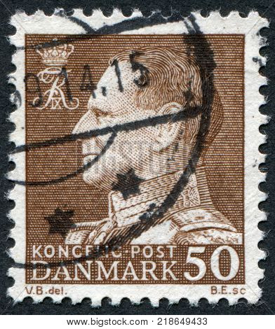 DENMARK - CIRCA 1967: A stamp printed in the Denmark depicts King Frederick IX circa 1967