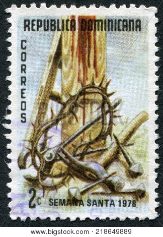 DOMINICAN REPUBLIC - CIRCA 1978: A stamp printed in the Dominican Republic shows the Crown of Thorns Tools at the Cross circa 1978