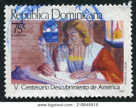 DOMINICAN REPUBLIC - CIRCA 1987: A stamp printed in the Dominican Republic dedicated to 500 anniversary of the discovery of America by Christopher Columbus circa 1987
