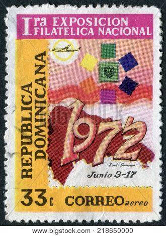 DOMINICAN REPUBLIC - CIRCA 1972: A stamp printed in the Dominican Republic, dedicated First National Philatelic Exhibition, Santo Domingo, circa 1972