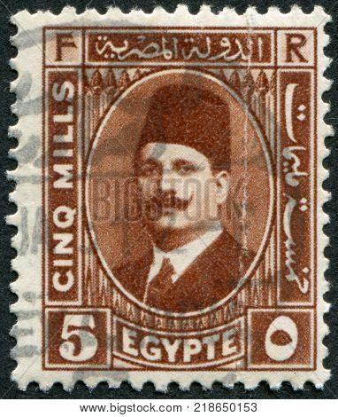EGYPT - CIRCA 1929: A stamp printed in Egypt depicts Fuad I of Egypt circa 1929