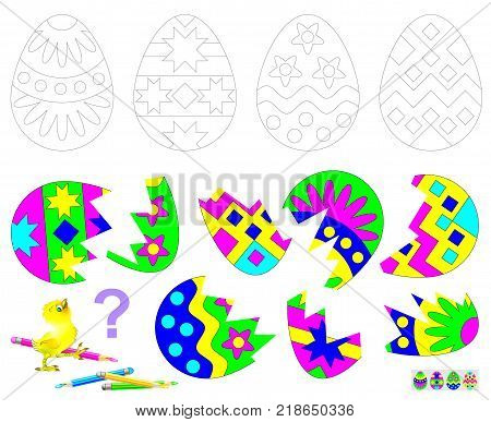 Logic puzzle game for children. Find the second part of each broken egg. Paint black and white drawings in corresponding colors.