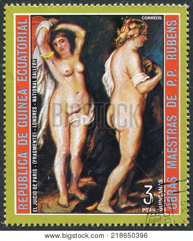 EQUATORIAL GUINEA - CIRCA 1973: A stamp printed in the Equatorial Guinea is shown painting Rubens