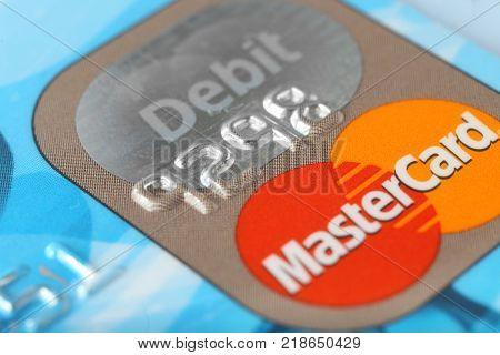 KIEV, UKRAINE - SEPTEMBER 26, 2017: MasterCard credit card, closeup