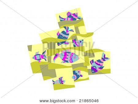 Composition Of Fish And Waves