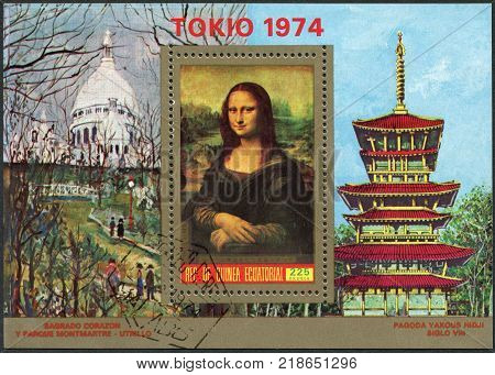 EQUATORIAL GUINEA - CIRCA 1973: A stamp printed in the Equatorial Guinea is devoted to the international philatelic exhibition FILATOKYO-74 shows the Mona Lisa Leonardo da Vinci circa 1973