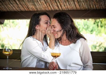 Young happy girls with glasses of wine whisper in the summerhouse outdoors