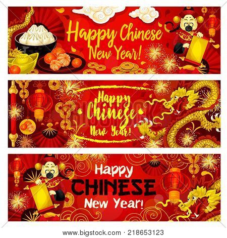 Happy Chinese New Year greeting banners design of traditional Chinese dragons and fireworks in clouds, golden coins on lucky knot ornament. Vector Chinese emperor with scroll and red paper lantern