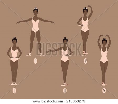 Young african american woman dancer in points shows the five basic ballet positions, demonstrating the correct placement of arms, legs and feet. Female in pink leotard bodysuit performs dance movements