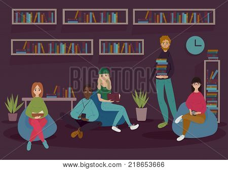 Young people in library or bookshop are reading books. They sit in lazy soft sofa chairs and surrounded by bookshelfs. Vector flat illustration