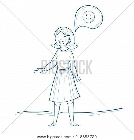 Woman stand and thinks positive. Smile happy thought about something. Cute female in hand drawn illustration style