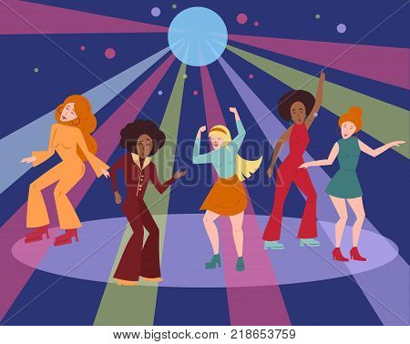 Young people in 1960 1970s style clothes dancing disco. Cartoon style multi ethnic group is moving on dance floor in colour rays from mirror ball. Men and women in retro cloth. Flat vector illustration