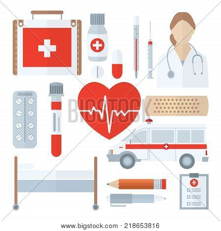 Medical icon set in flat style isolated on white background. Medicine symbols closeup. Includes first aid kit, pills, thermometer, syringe, test tube, adhesive plaster, ambulance, couch, pencil and pen etc.