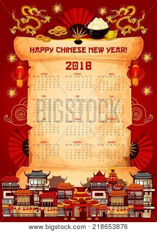 Chinese New Year 2018 calendar design template on paper scroll. Vector lunar holiday traditional symbols of golden dragons Chinese red lantern with hieroglyphs and fireworks on China New Year houses