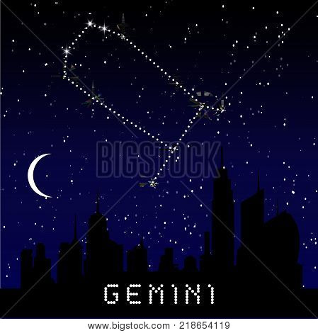 Gemini Zodiac Constellations Sign On Beautiful Starry Sky With Galaxy And Space Behind. Gemini Horos