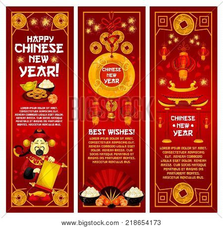 chinese new year greeting banner with oriental lantern god of prosperity and wealth with golden