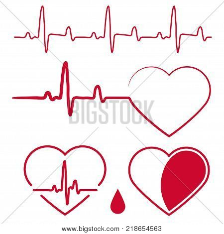 Heart Shape with cardiogram waves, Heartbeat Graph Red sign, One line pulse, healthy rate monitoring, cardiograph diagram. Vector