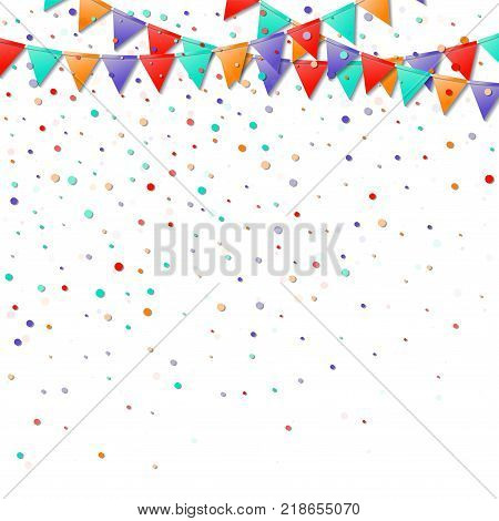 Bunting Flags. Great Celebration Card. Bright Colorful Holiday Decorations And Confetti. Bunting Fla