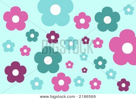 abstract floral retro flower design pattern background poster