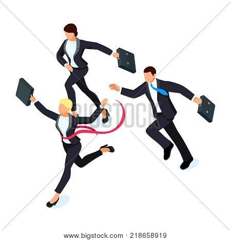 Running businessmen isolated on white background. Isometric businesswoman is the winner of the competition. 3d businesswoman with a torn red ribbon on his chest. Vector illustration.