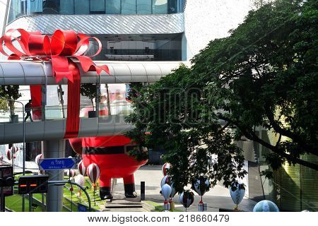 Bangkok Thailand : December 62017: The Biggest Santa Claus in South East Asia at Central Embassy