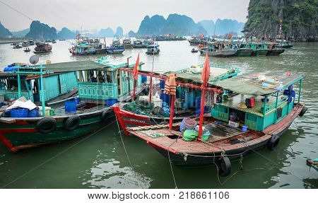 Boats At The Jetty In Quang Ninh, Vietnam