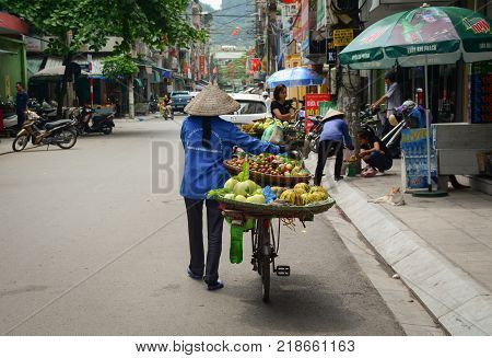 Ha Long Vietnam - May 23 2016. A vendor selling fruits on street in Ha Long Vietnam. Ha Long a city on Vietnam northern coast is a jumping-off point for Ha Long Bay.