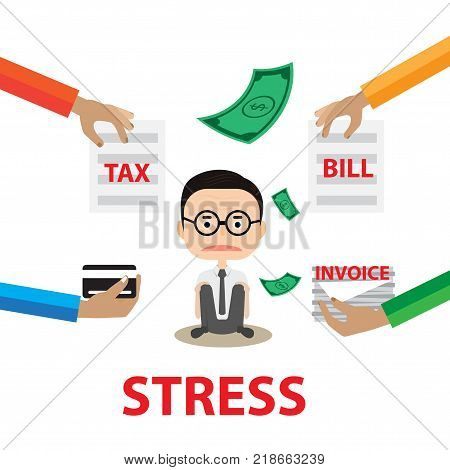 Business stress Concept report By A worry Businessman With hand hold paper tax invoice and bill
