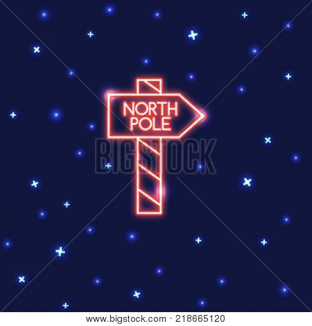 Neon North Pole waypost sign on dark background. Shining Christmas icon in line style.