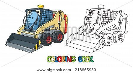Snowthrower. Small funny vector cute car with eyes and mouth. Children vector illustration. Municipal machinery for kids