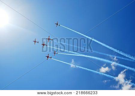 Melbourne, Australia - March 20, 2016: Aerobatic team performs flight at Air show
