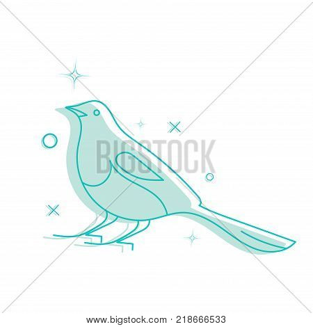 Line Art Vector Illustration: Korean Lunar New Year Magpie. The Korean or Oriental magpie, also known as Kkachi or Pica Serica. Common symbol of the identity of South Korea.