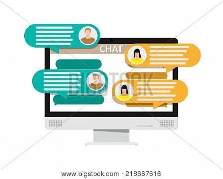 Desktop pc with messaging sms app. Chat bubbles on monitor. Chat between man and woman. Social netwroking. Discussion, talking, assistance. Vector illustration in flat style
