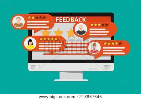 Desktop pc with rating app. Bubble speeches and avatars. Reviews five stars rating with good and bad rate and text. Testimonials, rating, feedback, review. Vector illustrayion in flat style