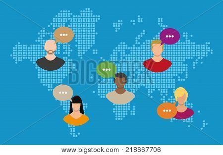 World map with people avatars. Social netwroking. Male and female faces avatars. Discussion group, people talking. Communication, chat, assistance. Vector illustration in flat style