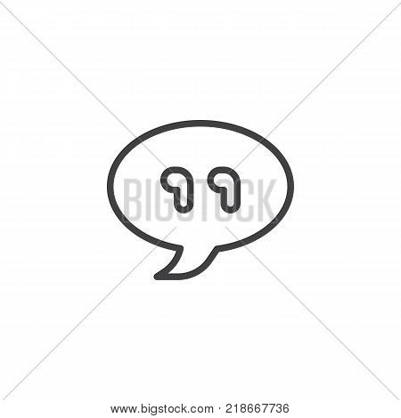 Chat bubble with quotes line icon, outline vector sign, linear style pictogram isolated on white. Quotation mark symbol, logo illustration. Editable stroke