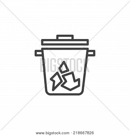 Trash can line icon, outline vector sign, linear style pictogram isolated on white. Recycle bin symbol, logo illustration. Editable stroke