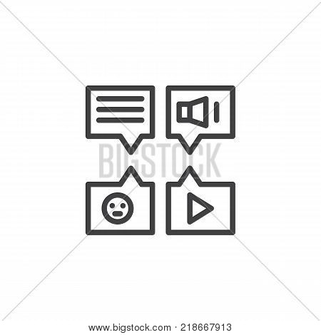 Message types line icon, outline vector sign, linear style pictogram isolated on white. Voice, video and text messages symbol, logo illustration. Editable stroke