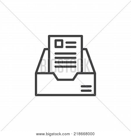 Archive box line icon, outline vector sign, linear style pictogram isolated on white. Cabinet file symbol, logo illustration. Editable stroke