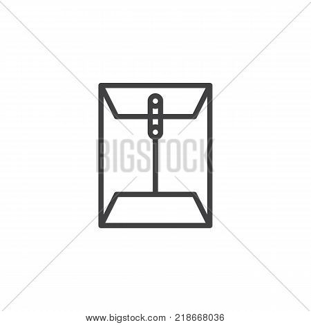 Envelope email attachment line icon, outline vector sign, linear style pictogram isolated on white. Message paper document clip symbol, logo illustration. Editable stroke