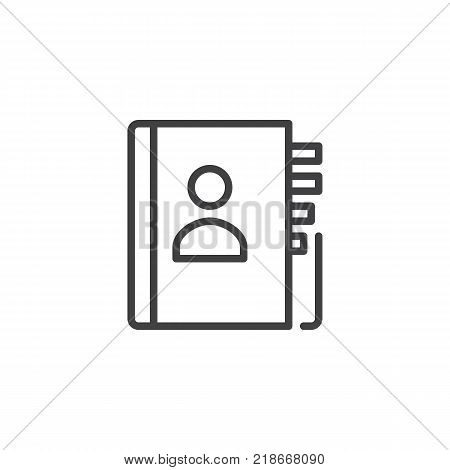 Contact book line icon, outline vector sign, linear style pictogram isolated on white. Address book symbol, logo illustration. Editable stroke