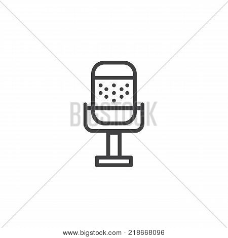 Microphone line icon, outline vector sign, linear style pictogram isolated on white. Voice record symbol, logo illustration. Editable stroke